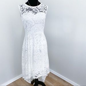 White Lace High Neck formal Hi Lo Dress Medium